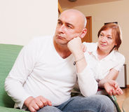 The conflict between mother and son. Domestic quarrel between adult son and mother Stock Image
