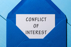 Free Conflict Of Interest Text Written In Letter At Blue Envelope Royalty Free Stock Photography - 76277777