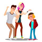 Conflict With Parents, Father And Mother Scolding Teenager Vector. Isolated Illustration. Conflict With Parents, Father And Mother Scolding Teenager Vector vector illustration