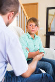Conflict relations of arguing  son and dad Stock Images