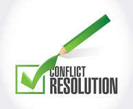 Conflict resolution check mark illustration design Royalty Free Stock Image