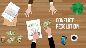 Conflict resolution concept illustration with two people discuss and money, paperworks, folder document and vase on top. Of table vector Royalty Free Stock Image