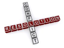 Conflict resolution. A concept image of crossword made of letter blocks forming the words conflict resolution Stock Images
