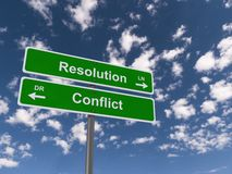 Conflict resolution signs. Conflict written on one sign with arrow pointing to left and resolution with arrow pointing to right written on another against blue royalty free stock photo