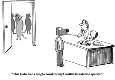 Conflict Resolution Speech. Business cartoon showing business cats in the background, business dog says, 'This looks like a tough crowd for my Conflict vector illustration