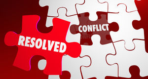 Conflict Resolved Fight Resolution Puzzle Piece. 3d Illustration Royalty Free Stock Images