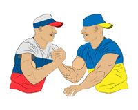 Conflict between Russian and Ukraine countries: two men fight wrestling. Clothes in Ukraine and Russian flags slyle. Illustration Stock Image