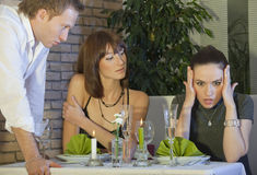 Conflict situation in restaurant Royalty Free Stock Image