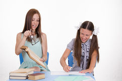 Conflict of teacher and student Stock Photo