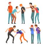 Conflict between teenagers, boys mocking his classmate, mockery and bullying at school vector Illustration on a white stock illustration