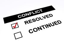 Conflict. Text 'conflict' in white uppercase letters with two tick boxes below with text 'continued' in one and 'resolved' in the other which has a red tick vector illustration