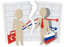 Conflict between Turkey and Russia. Gap between businessmen of contract Stock Photo