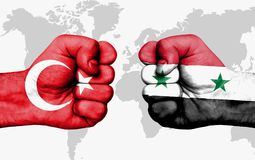 Conflict between Turkey and Syria - male fists Stock Photos