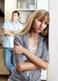 Conflict tussen de mens en vrouw Stock Afbeeldingen