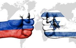 Conflict tussen Rusland en Israël - mannelijke vuisten Royalty-vrije Illustratie