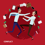 Conflict of two businessmen. Vector illustration on color background featuring two businessmen having a fight Royalty Free Stock Images