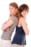 Conflict between two friends. Conflict between two schoolfriend isolated on white Royalty Free Stock Image