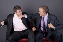 The conflict between two young business men Stock Photos