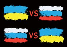 Conflict between Ukraine and Russia. Rectangular flags on dark background. Cold war illustration Stock Photo