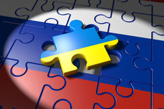 Conflict between Ukraine and Russia symbolized with a Puzzle. 3d illustration Conflict between Ukraine and Russia symbolized with a Puzzle Stock Photos