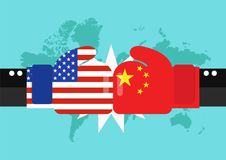 Conflict between USA and China with world map background. Two hand with boxing gloves fighting Stock Photography