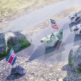 Conflict between USA and North Korea  -  Concept illustration of Stock Photos