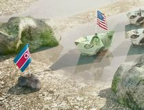 Conflict between USA and North Korea  -  Concept illustration of Royalty Free Stock Photo