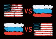 Conflict between USA and Russia. Rectangular flags on dark background. Cold war illustration Royalty Free Stock Photos