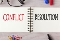 Conflict versus Resolution. Conflict vs Resolution written on notebook with marker pen. Business Concept stock image