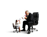 Conflict between woman and senior man Royalty Free Stock Image