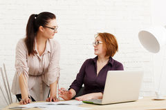 Conflict. Women discuss project in office Stock Images