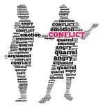 Conflict in woordwolk Stock Foto's