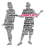 Conflict in word cloud Stock Photos