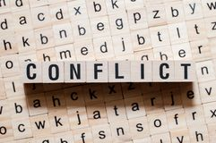 Conflict word concept royalty free stock image