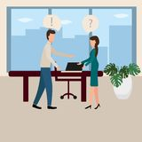 Conflict at work. A male boss berates an employee. Vector illustration in flat style vector illustration