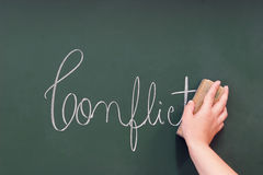 Conflict written in a blackboard Stock Photo