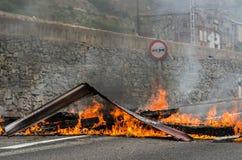 Conflicten tussen mijnwerkers en antirelpolitie Stock Foto's