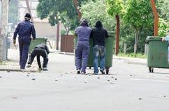 Conflicten tussen mijnwerkers en antirelpolitie Stock Foto
