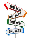 Conflicting One Way Signs. Digitally Generated Image isolated on white background. 3D Rendering Stock Images
