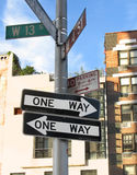 Conflicting signs. Conflicting road signs in Greenwich Village, NYC Stock Photography