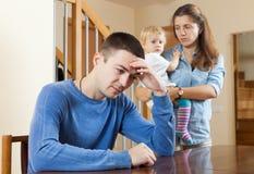 Conflicto de la familia en casa Imagenes de archivo
