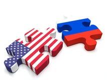 Conflicto Rusia contra los E.E.U.U. ilustración del vector