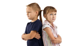 Conflicts between children. quarrels and offense. Children are quarreling with each other. difficult relationship Stock Photo