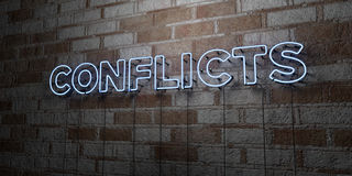 CONFLICTS - Glowing Neon Sign on stonework wall - 3D rendered royalty free stock illustration Stock Image