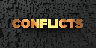 Conflicts - Gold text on black background - 3D rendered royalty free stock picture Royalty Free Stock Photo