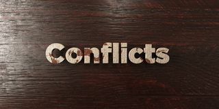 Conflicts - grungy wooden headline on Maple  - 3D rendered royalty free stock image Stock Photos