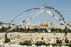 Conflicts in Jerusalem. Jewish conflicts in Jerusalem. Rock Dome on the Temple Mount in Jerusalem in Israel with behind wired fence stock photos