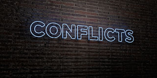 CONFLICTS -Realistic Neon Sign on Brick Wall background - 3D rendered royalty free stock image Stock Photography
