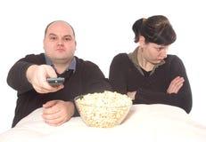 Conflit au sujet du programme de TV Photographie stock libre de droits