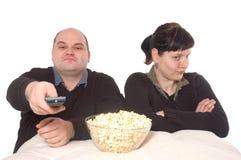 Conflit au sujet du programme de TV Photo stock